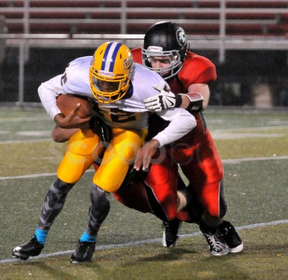 J D Hilditch gets a sack. Awesome photo by Scoopbug (give them money) http://www.indianagazette.com/pages/site/scoopbug/