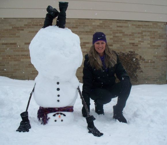 A girl i don't know, in a photo from a snowman making contest published at www.indianagazette.com