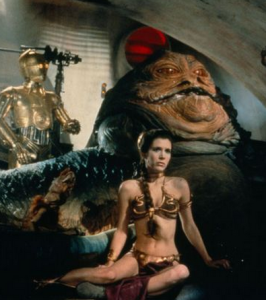 Since I don't have anyone on staff to choose photos and write captions, you'll just have to picture me as Leia and Arianna as Jabba. (I do own the slave bikini, FWIW.)